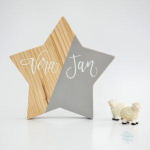estrella madera Lettering