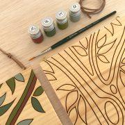 Kit pintar por numeros árbol verde